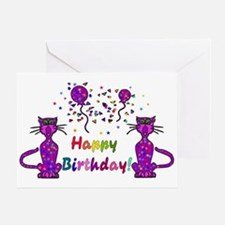 Purple Birthday Cats Greeting Card