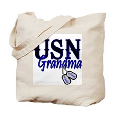 USN Grandma Dog Tag Tote Bag