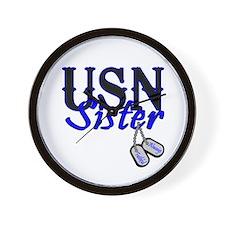 USN Sister Dog Tag Wall Clock