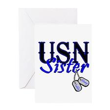 USN Sister Dog Tag Greeting Card