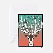Red/Green Reindeer Greeting Card Happy Holidays