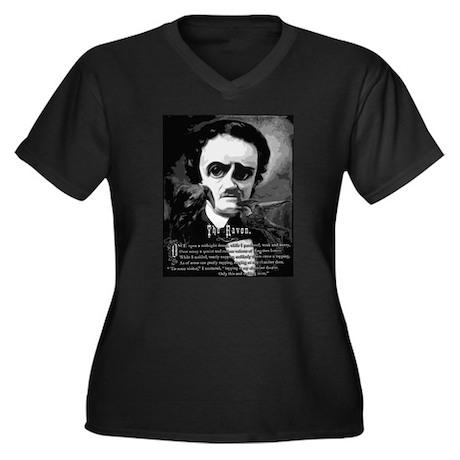 The Raven Women's Plus Size V-Neck Dark T-Shirt