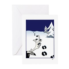 Tracks in the Snow Greeting Cards (10) Seasons Gre