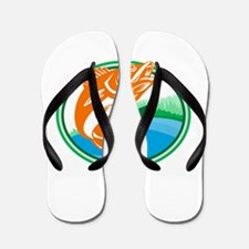Walleye Fish Lake Cabin Oval Retro Flip Flops