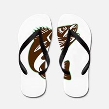 Walleye Fish Jumping Isolated Retro Flip Flops