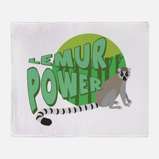 Lemur Power Throw Blanket