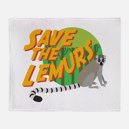 Save the Lemurs Throw Blanket