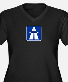 German Autobahn Women's Plus Size V-Neck Dark T-Sh