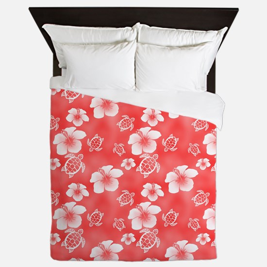 Red Hibiscus Honu Hawaiian Pattern Queen Duvet