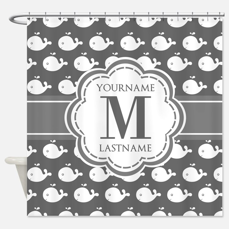 Gray Whale Pattern, Custom Monogram Shower Curtain