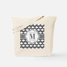 Gray Whale Pattern, Custom Monogram Tote Bag