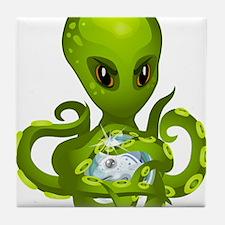 Green Alien Octopus Tile Coaster