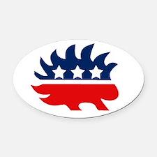 Libertarian Porcupine Oval Car Magnet