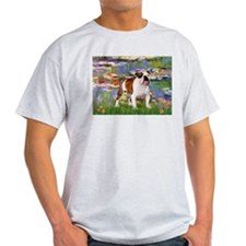 Lilies & English Bulldog Ash Grey T-Shirt