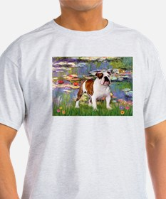 Lilies & English Bulldog Ash Grey T-Shirt