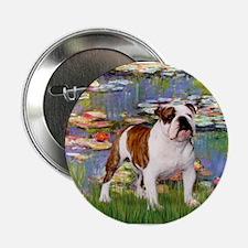 Lilies & English Bulldog Button