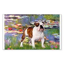 Lilies & English Bulldog Rectangle Decal