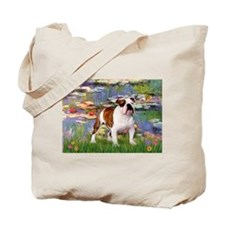 Lilies & English Bulldog Tote Bag