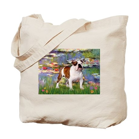 Lilies & English Bulldog Tote Bag