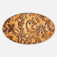 Brown Carved Wood Oriental Floral Design Decal