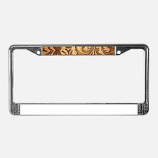 Brown Carved Wood Oriental Flo License Plate Frame