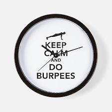 Keep calm and do burpees Wall Clock