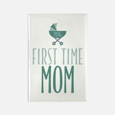 First Time Mom - Blue Rectangle Magnet