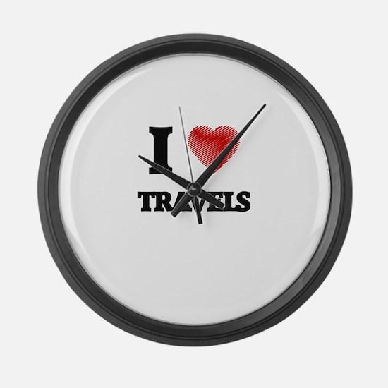 I love Travels Large Wall Clock