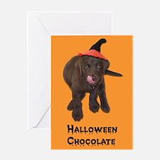 Halloween Chocolate Lab Greeting Card