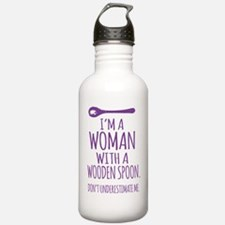 Woman With a Wooden Sp Water Bottle