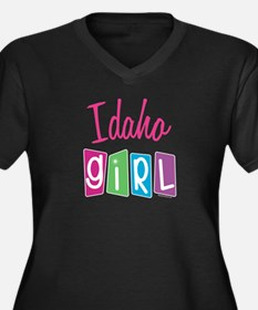IDAHO GIRL! Women's Plus Size V-Neck Dark T-Shirt