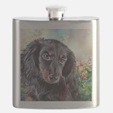 Dachshund Painting Flask