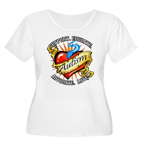 Autism Classic Tattoo Women's Plus Size Scoop Neck