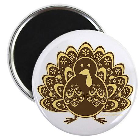 """Vintage Turkey Gold/Brown 2.25"""" Magnet (10 pack)"""