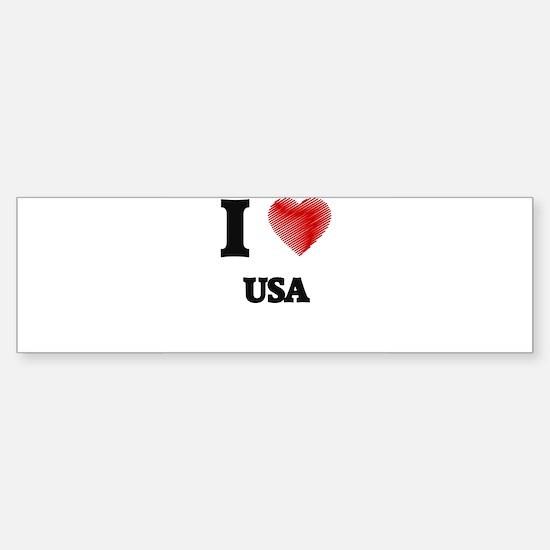 I love Usa Bumper Bumper Bumper Sticker