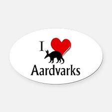 I Heart Aardvarks Oval Car Magnet