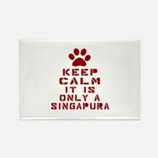 Keep Calm It Is Singapura Cat Rectangle Magnet