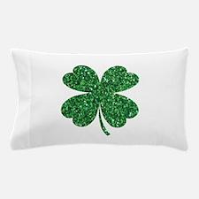 Green Glitter Shamrock st. particks Ir Pillow Case