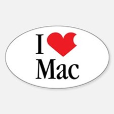 I Love Mac heart products Oval Decal