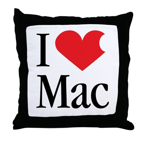 I Love Mac heart products Throw Pillow