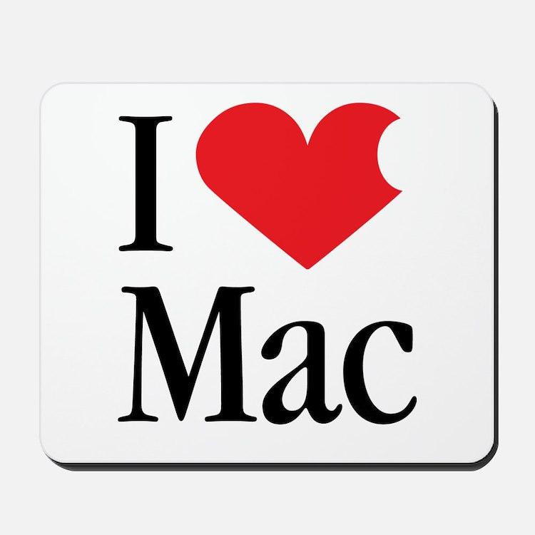I Love Mac heart products Mousepad