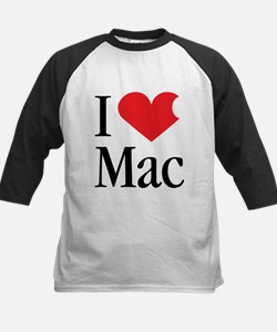 I Love Mac heart products Kids Baseball Jersey