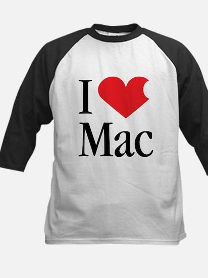 I Love Mac heart products Kids Baseball Jersey