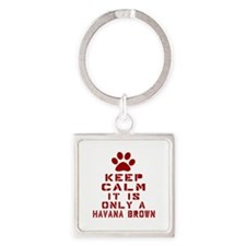 Keep Calm It Is Havana Brown Cat Square Keychain
