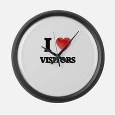I love Visitors Large Wall Clock