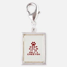 Keep Calm It Is Cheetoh Cat Silver Portrait Charm