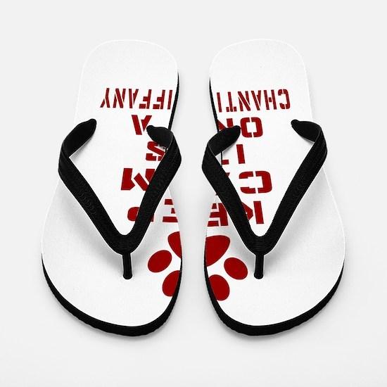 Keep Calm It Is Chantilly Tiffany Cat Flip Flops