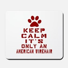 Keep Calm It Is American Wirehair Cat Mousepad