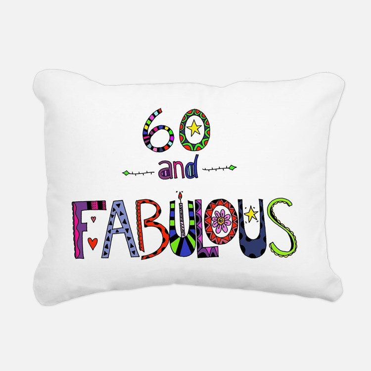 Cute Happy 60th birthday Rectangular Canvas Pillow