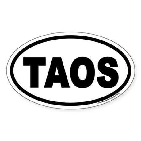 "Taos, New Mexico ""TAOS"" Euro Style Oval Sticker"